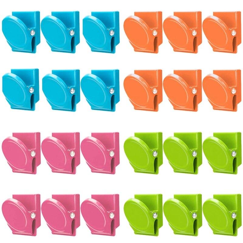 מגנטי קליפים, 24 חתיכות מגנטי מתכת קליפים, מקרר לוח ציור קיר מקרר מגנטי תזכיר הערה קליפים מגנטים מתכת Cli