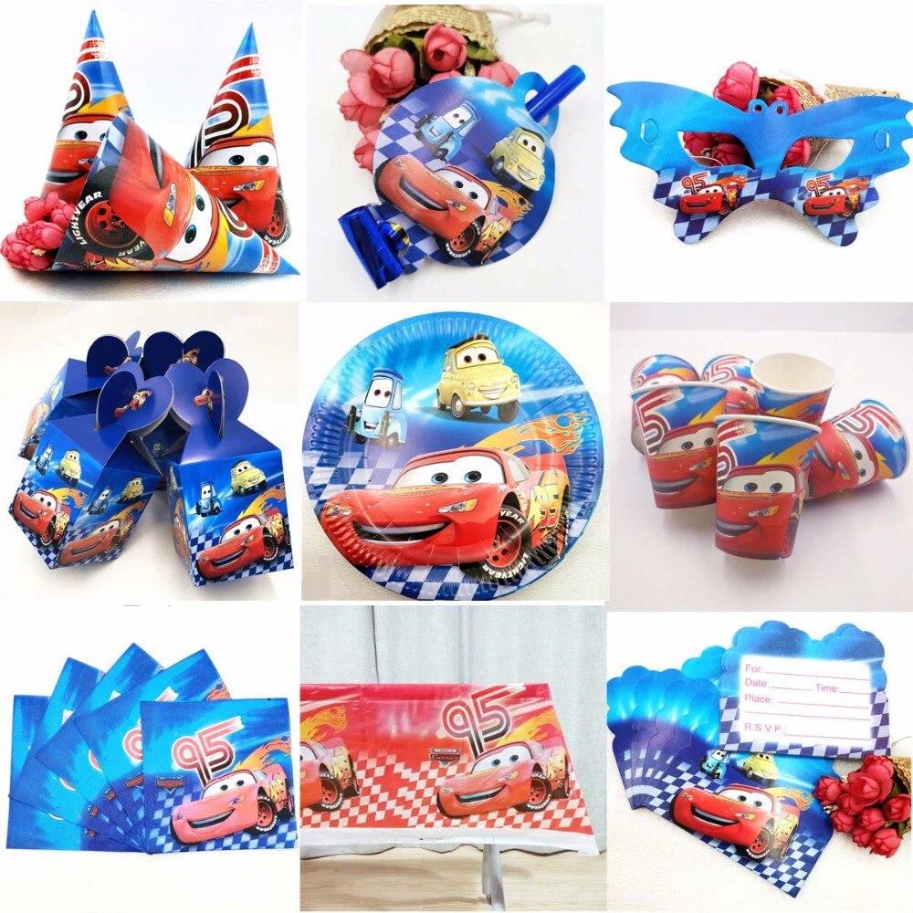 Cars Lightning Mcqueen detalle para bebé suministros de fiesta Decoración de cumpleaños de niños fiesta de bienvenida para el futuro bebé niños juegos de vajilla desechables