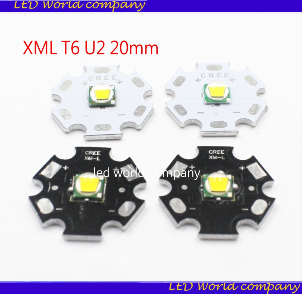 5 uds CREE XML XM-L T6 LED T6 U2 10W blanco cálido blanco de alta potencia LED Chip emisor con 20mm PCB para DIY