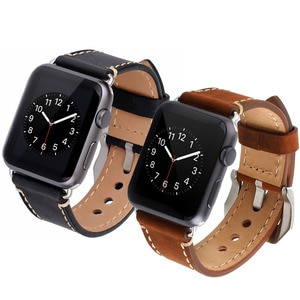 Leather Strap for apple watch band 44mm 40mm 42mm 38mm Accessories watchband belt correas bracelet APPLE WATCH series 3 4 5 6 se