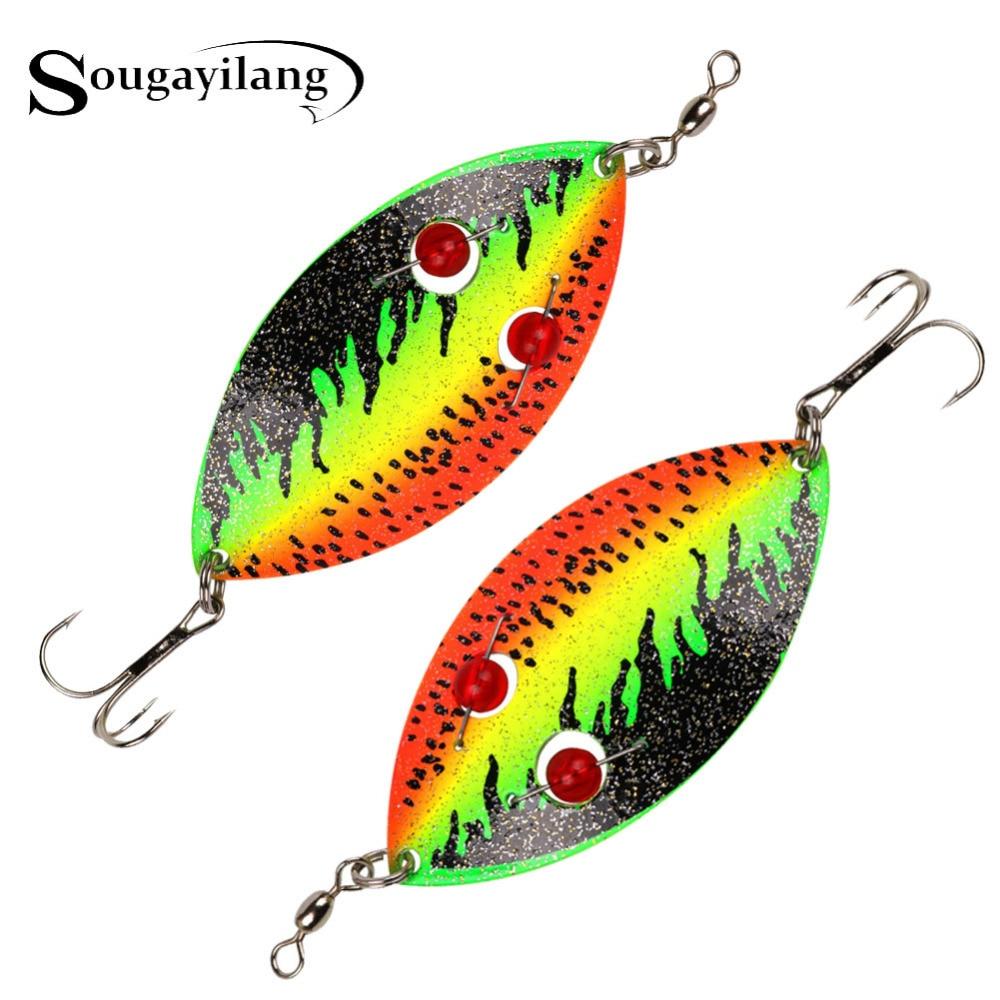 Sougayilang 35g colher de inverno isca de pesca 12cm truta metal duro vib isca pique falso peixe spinner isca artificial com 3d olhos