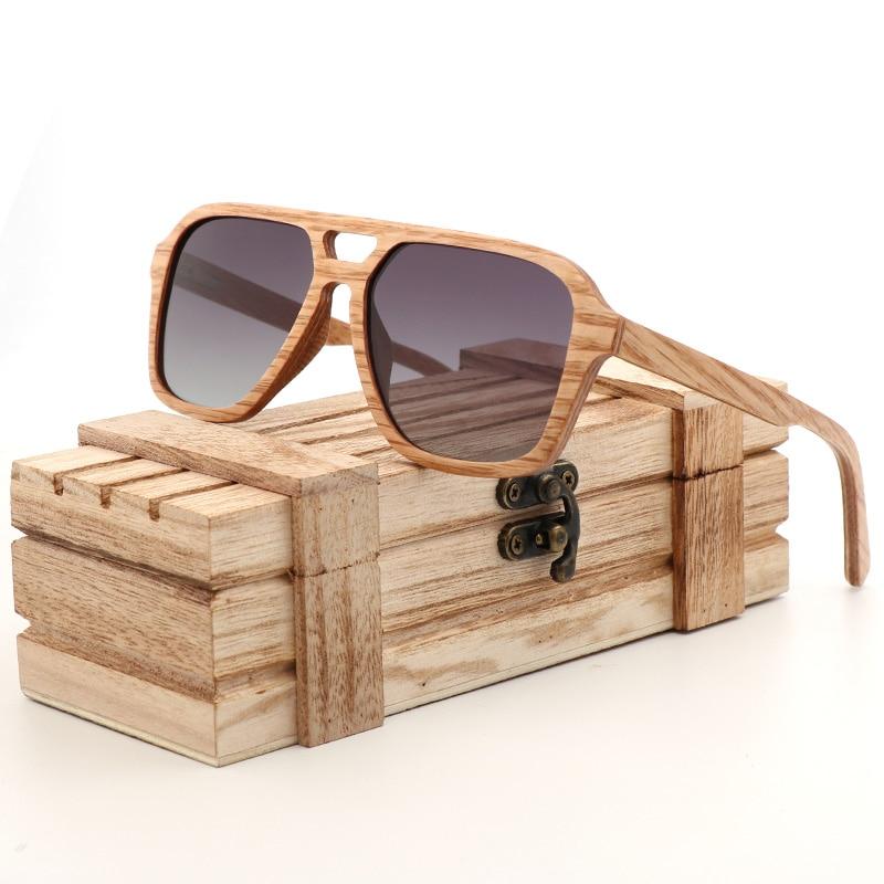 نظارات شمسية مستقطبة للرجال ، مصنوعة يدويًا من الخشب الطبيعي ، مع صندوق هدايا ، عصرية