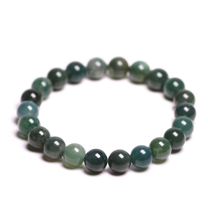 Pulsera de ágata verde acuática con piedras naturales, Cuenta de cristal de cuarzo redondo de ónix, pulsera para hombres y mujeres, energía curativa, regalo, joyería de la suerte