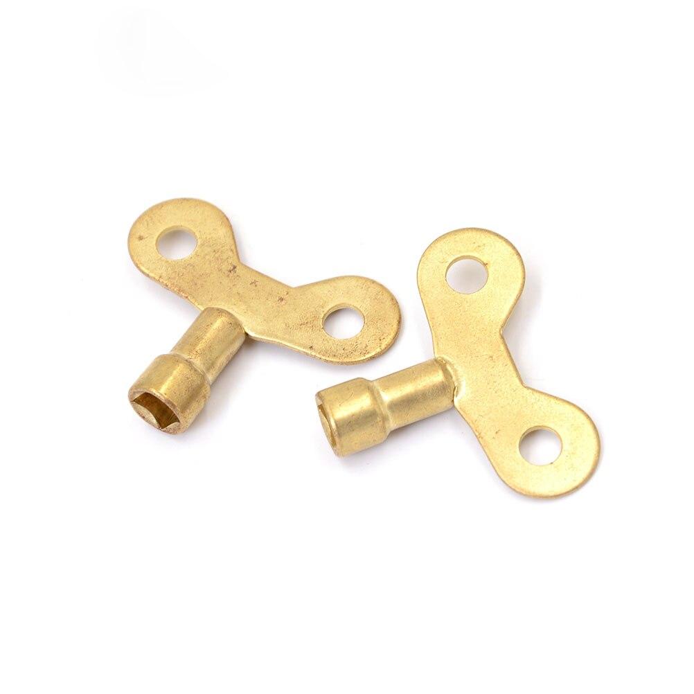 2 pçs chave especial para a água da torneira de bronze sólido bloqueio novo encanamento do radiador sangramento chave soquete quadrado buraco torneira de água chave