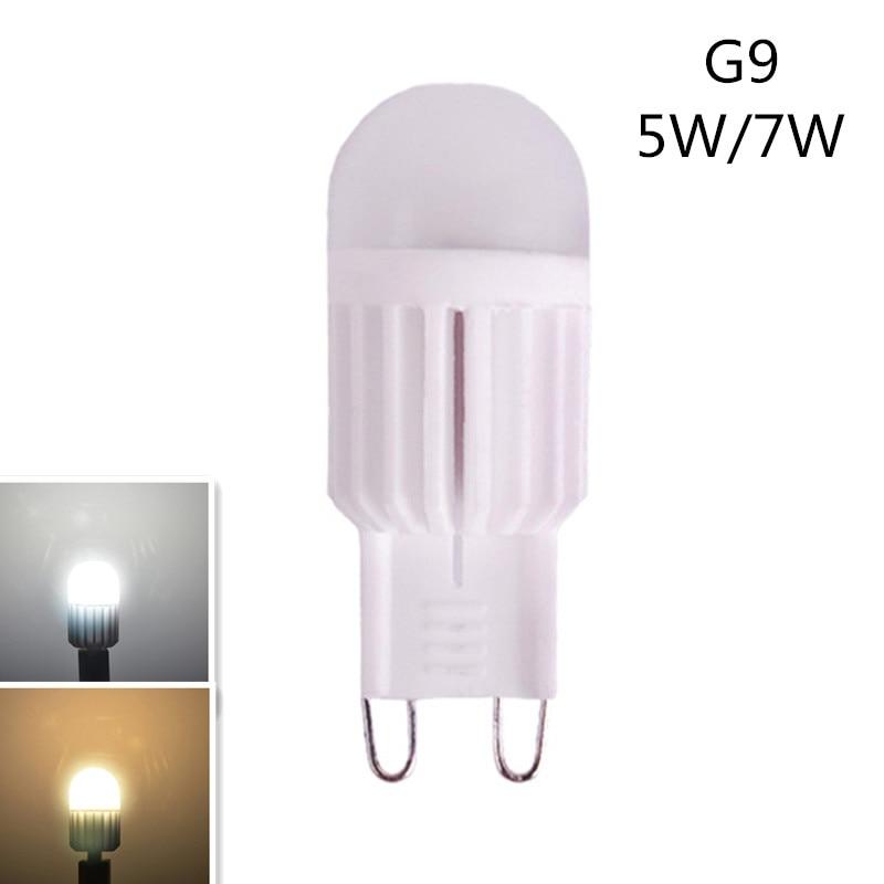 G9 LED 220V 5W 7W G9 bombilla LED Mini G9 lámpara de araña de cerámica de alta potencia superbrillo para la decoración del hogar