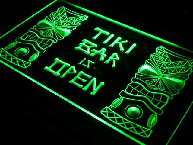 I573 Tiki Bar está abierto máscara pantalla NR letrero de neón con luz LED interruptor de encendido/apagado 20 + colores 5 tamaños