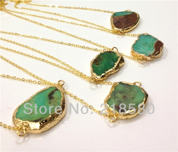 H-n012psysx059g 5 pcs forma livre apple verde chrysoprase pedra colar de ouro galvanizado
