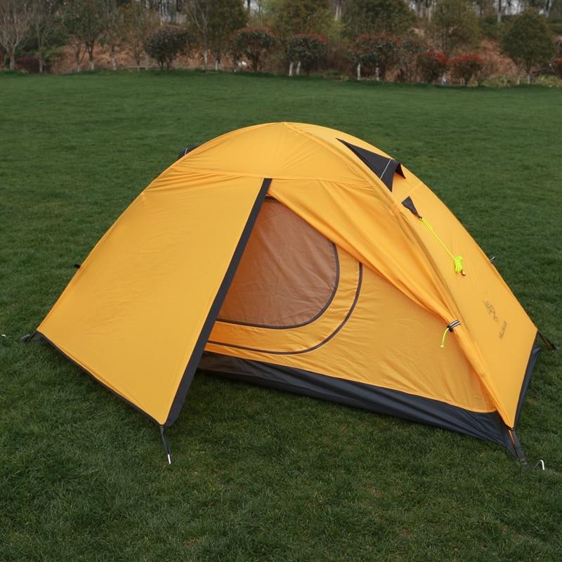 Hillman tenda 20d tecido de silicone ultraleve 1 pessoa camadas duplas haste alumínio caminhadas tenda única 4 temporada 2 cores