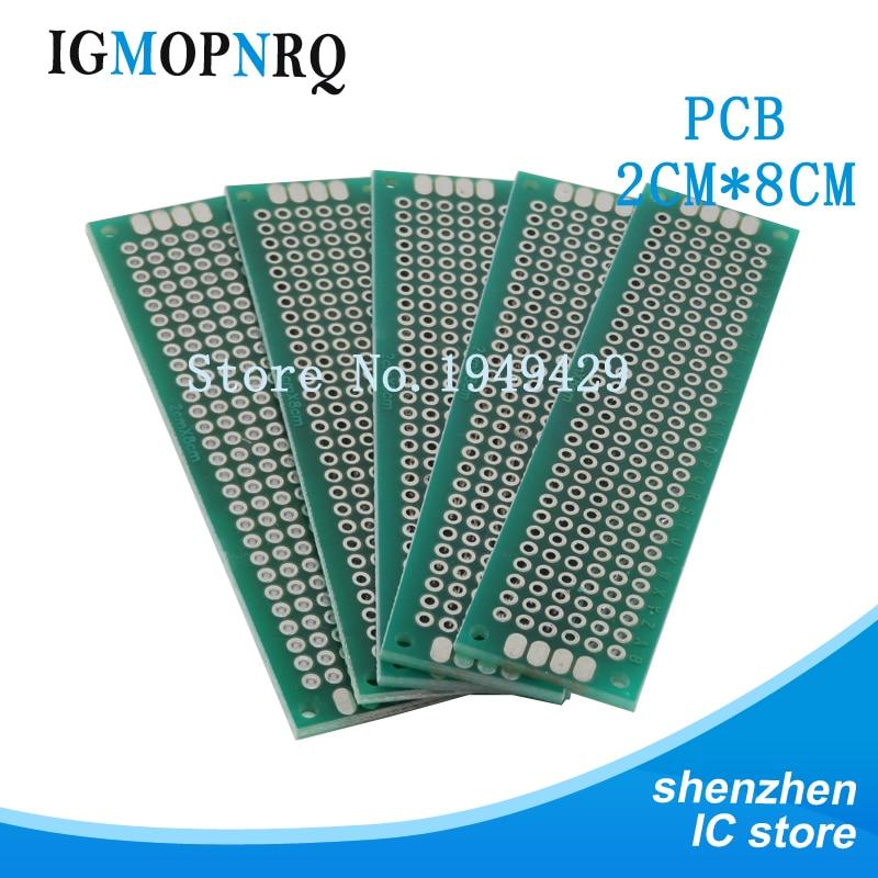 10pcs Double Side Prototype PCB 2*8CM diy Universal Printed Circuit Board 2x8cm