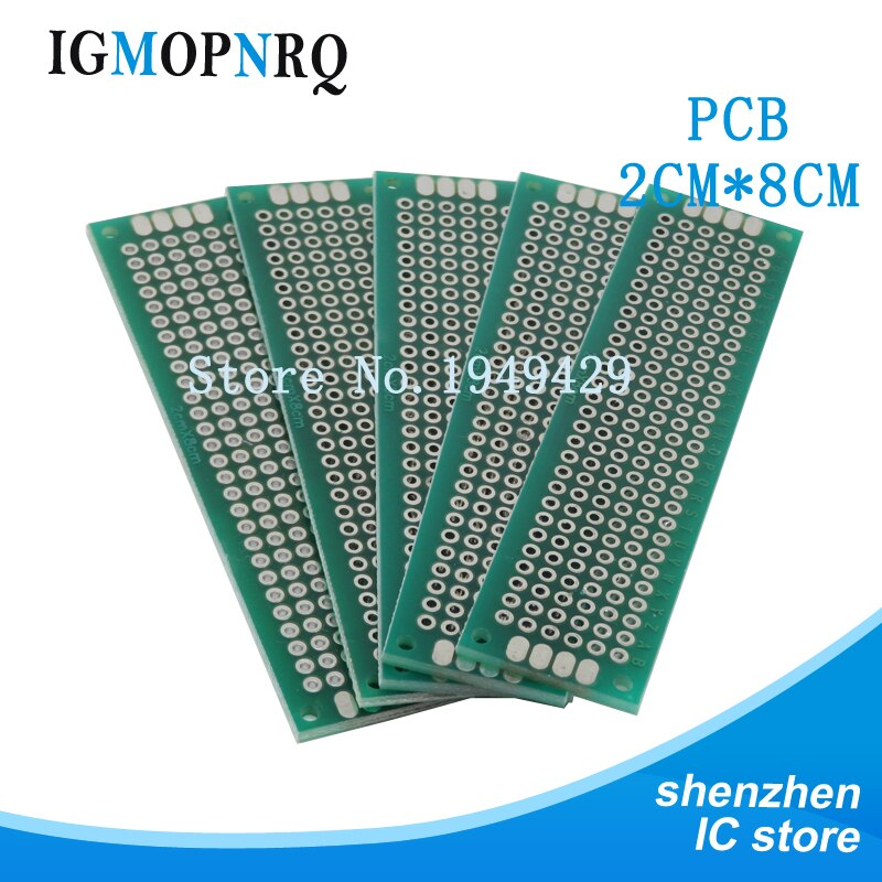 Placa de circuito impreso de doble cara, 2x8CM, placa de circuito impreso Universal diy de 2x8CM, 10 Uds.