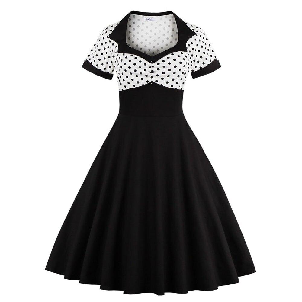 Verano Polka Dot mujeres vestido 2019 de manga corta Retro 50s 60s vestido femenino Vintage pin up Rockabilly Casual Vestidos Mujer