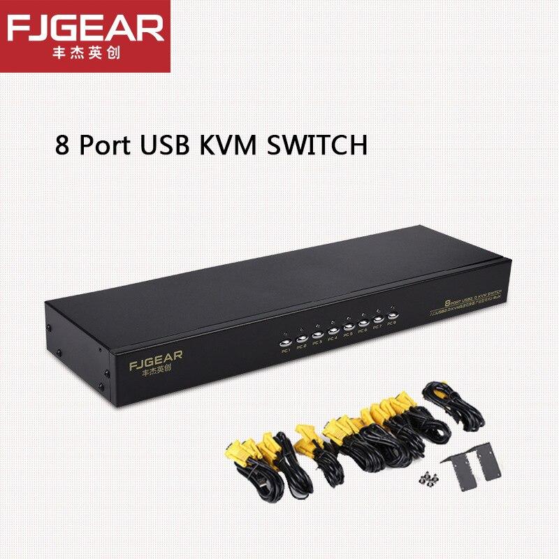 8 portas kvm switch vga manuale usb keypress com fio estensione remoto switcher pc selettore por 8 pz 1 monitor FJ-8UK