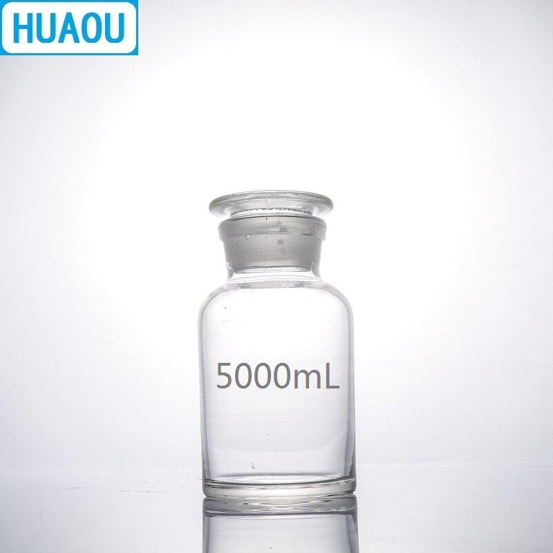 HUAOU 5000mL botella de reactivo de boca ancha 5L molido en vidrio transparente con tapón de vidrio equipo de química de laboratorio