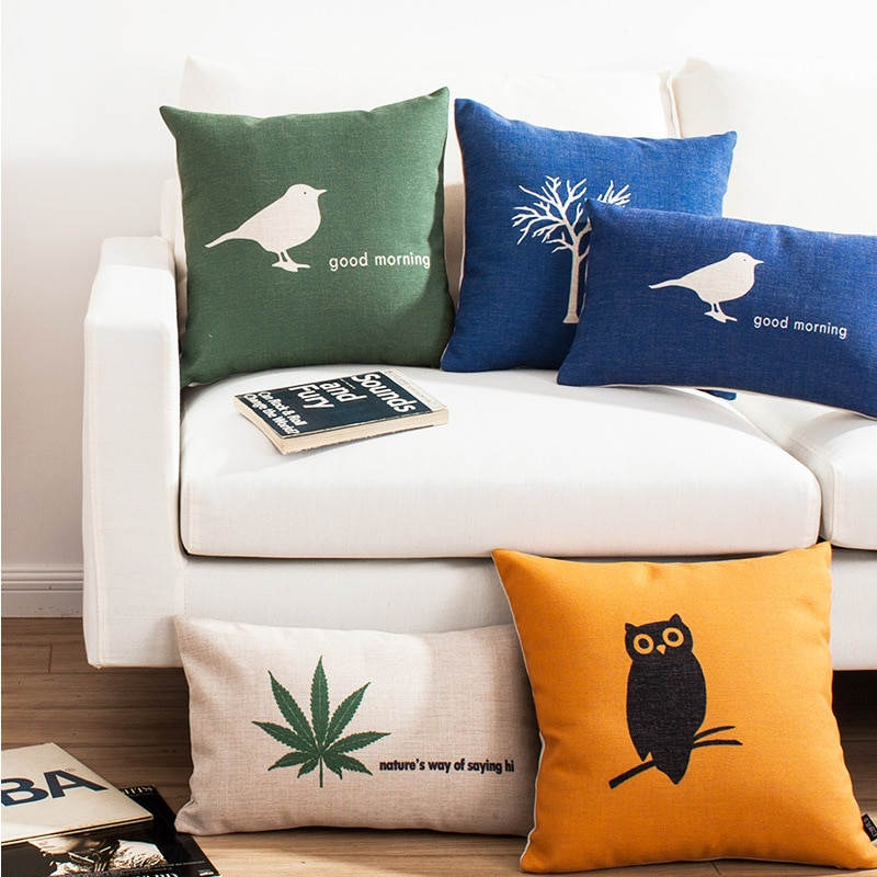 45x4 5cm/45x30cm, Lino de algodón, fondo simple verde, funda de almohada blanca, funda de almohada de árbol, funda de almohada de planta natural, funda de almohada