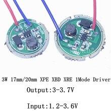 10 Uds 3W LED conductor 16mm/20mm DC3.7V 1 modo LED linterna conductor para CREE XRE-Q5/XPE XP-E/XBD XB-D todo tipo de 3W luz LED
