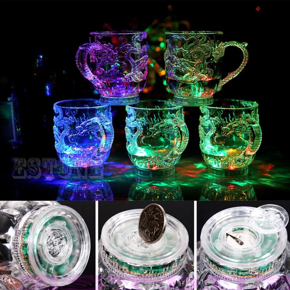 LED Drachen Induktive Regenbogen Farbe Blinklicht Glow Becher Gläser Bier Tasse