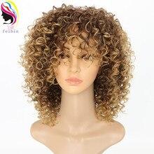 Feibin curto afro perucas para preto feminino kinky encaracolado ombre loira natureza preto perucas sintéticas africano 14 polegadas