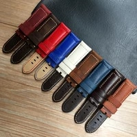 watch accessories watch strap 24mm brwon blue red white vintage crazy horse mate genuine leather watch band for pam pam853 belt