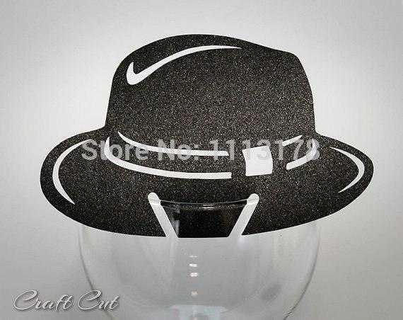 Tarjeta de lugar de sombrero Al Capone de Chicago, recuerdo de boda, decoración de gángster, fiesta de la Mafia, copa de vino, decoración pc001