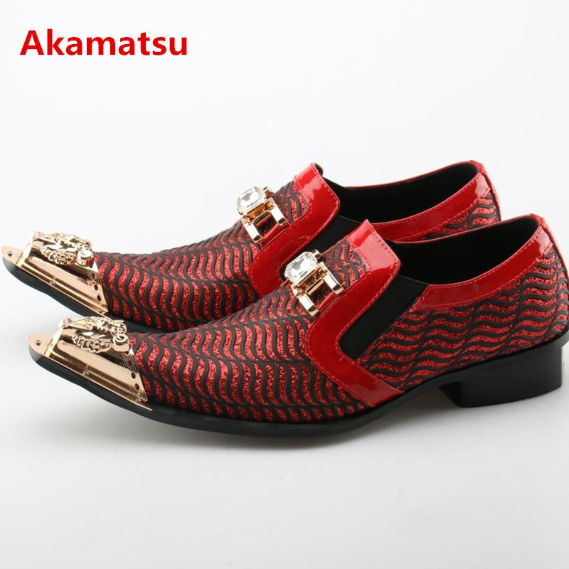 Akamatsu-حذاء موكاسين كلاسيكي بدون أربطة للرجال ، أحذية زفاف ، أسود ، أحمر ، ذهبي