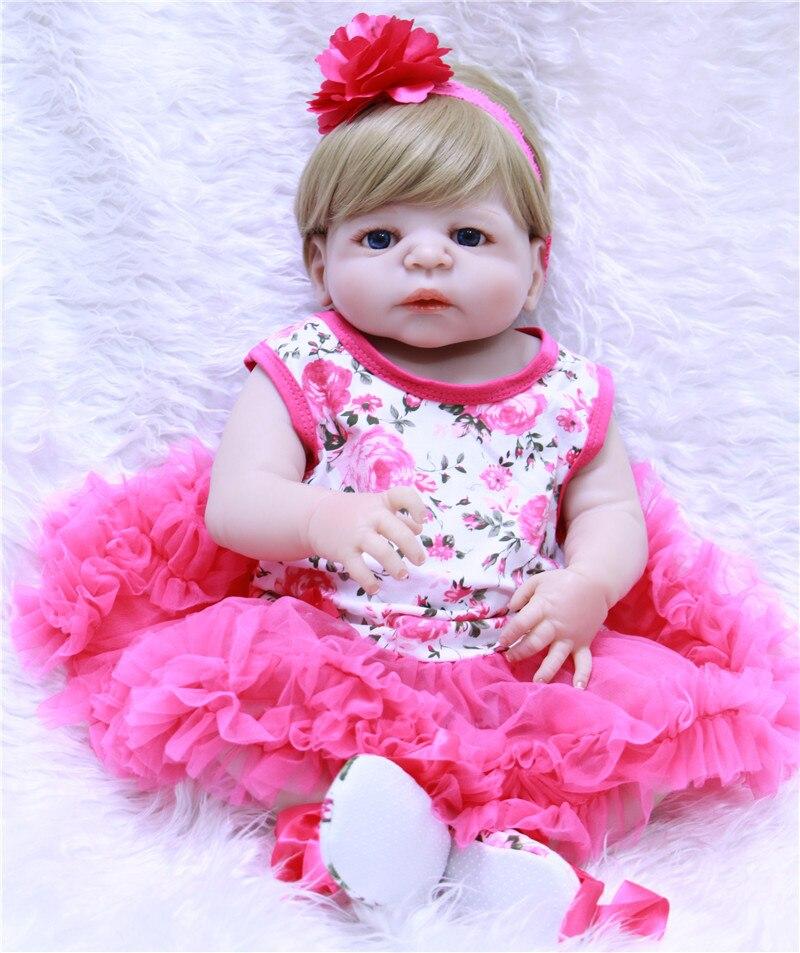 """22 """"Chica muñeca de cuerpo completo de silicona renacido bebés puede entrar agua con chupete de bebé reborn vivo metoo regalo de los niños"""