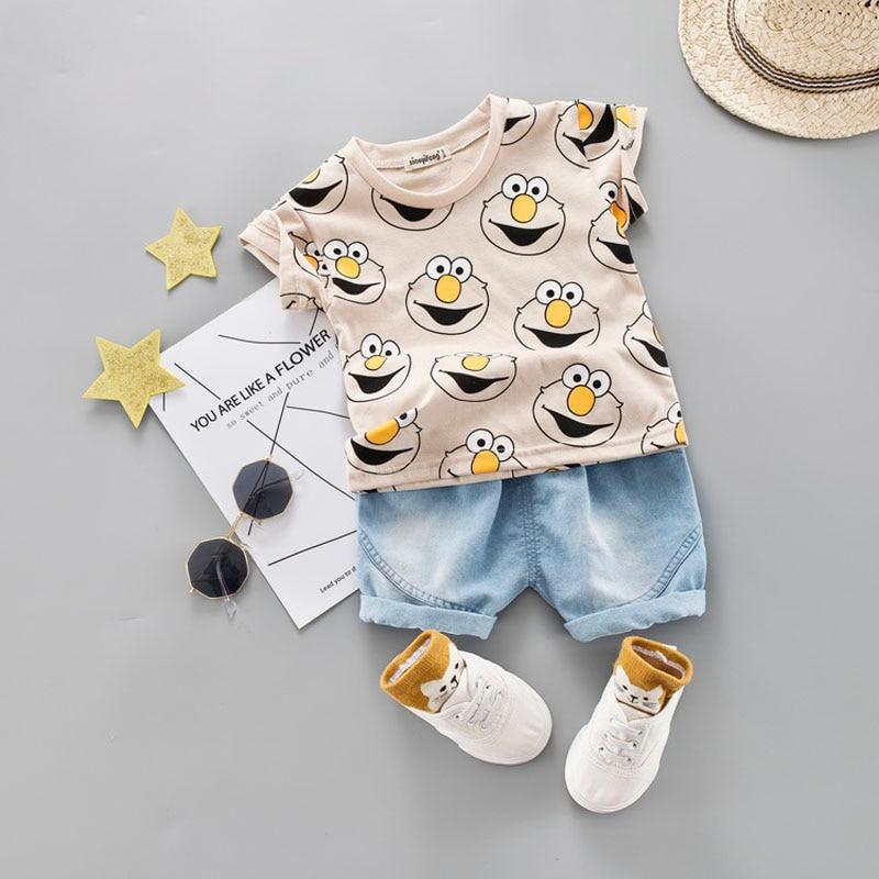 Baby Boy Clothing Set Kids Cute Summer Suit T-Shirt Denim Shorts Cartoon Children Outwear 1 2 3 4 Years Cotton Outfits Khaki Red