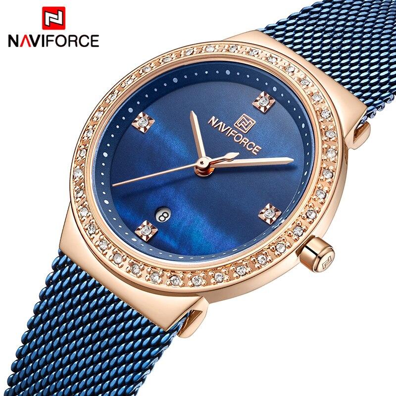Reloj de cuarzo marca NAVIFORCE para Mujer, cinturones de malla de acero inoxidable, relojes elegantes para Mujer, Reloj creativo de lujo para Mujer