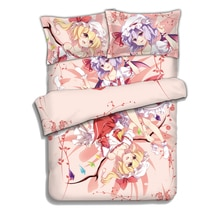Ensemble de draps de literie   Modèle japonais Anime Flandre Remilia Scarlet TouHou, ensembles de literie, couvre-lit,, 4 pièces