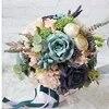 2018 ניו creative ורומנטי פרחי פרחים בעבודת יד כלה חתונה מחזיקה Moron ידיים ברי פרח פרחי הידראנגאה רוז כחול