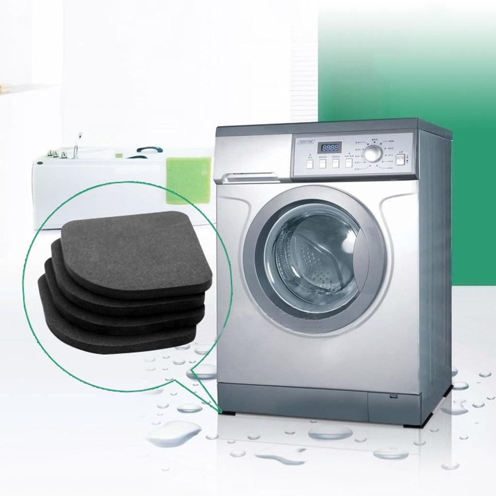4 almohadillas antigolpes antideslizantes para lavadora de goma EVA, color negro