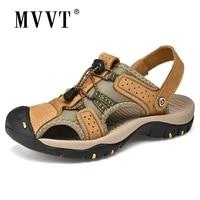 classic genuine leather sandals men summer shoes lightweight comfort men beach sandals hook loop leather men shoes plus size