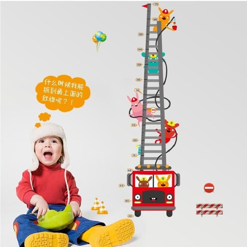 Cartoon Fire Bus Height Measure Wall Sticker For Children Room Pvc Growth Chart Home Decals Traffic Mural Art Wallposter
