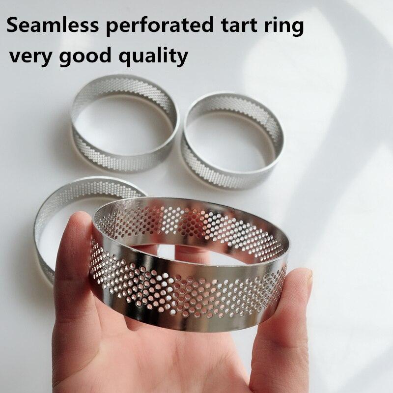 10 piezas 6cm 7cm 8cm fruta pastel círculo redondo inoxidable perforado tarta anillo quiche anillo sartén anillo de tartlet con agujero