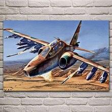 Askeri araç uçak SU 25 Frogfoot saldırgan oturma odası dekorasyon ev sanat dekoru ahşap çerçeve kumaş posteri KJ383