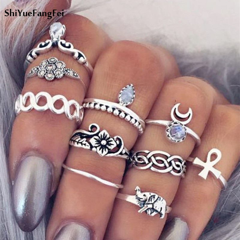 10pcs/Set Ethnic Turkish Elephant midi Ring Sets for Women Vintage Silver Gold Color Moon Knuckle Rings Boho Bohemian Beach