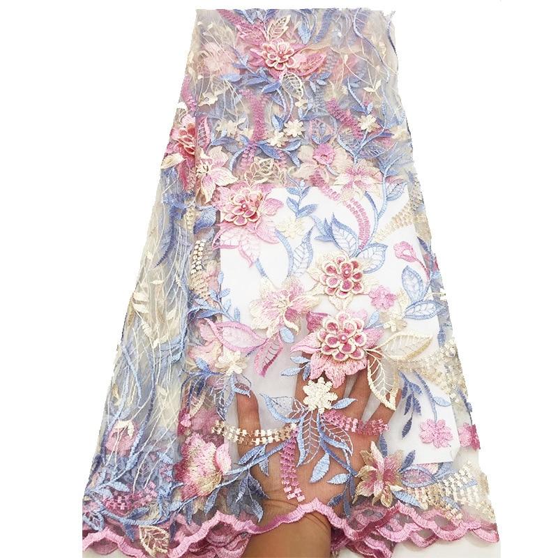 Tela de encaje francés de calidad para vestido de fiesta de boda 2019 nuevo bordado Afican Lace Fabric con cuentas Drop Shipping