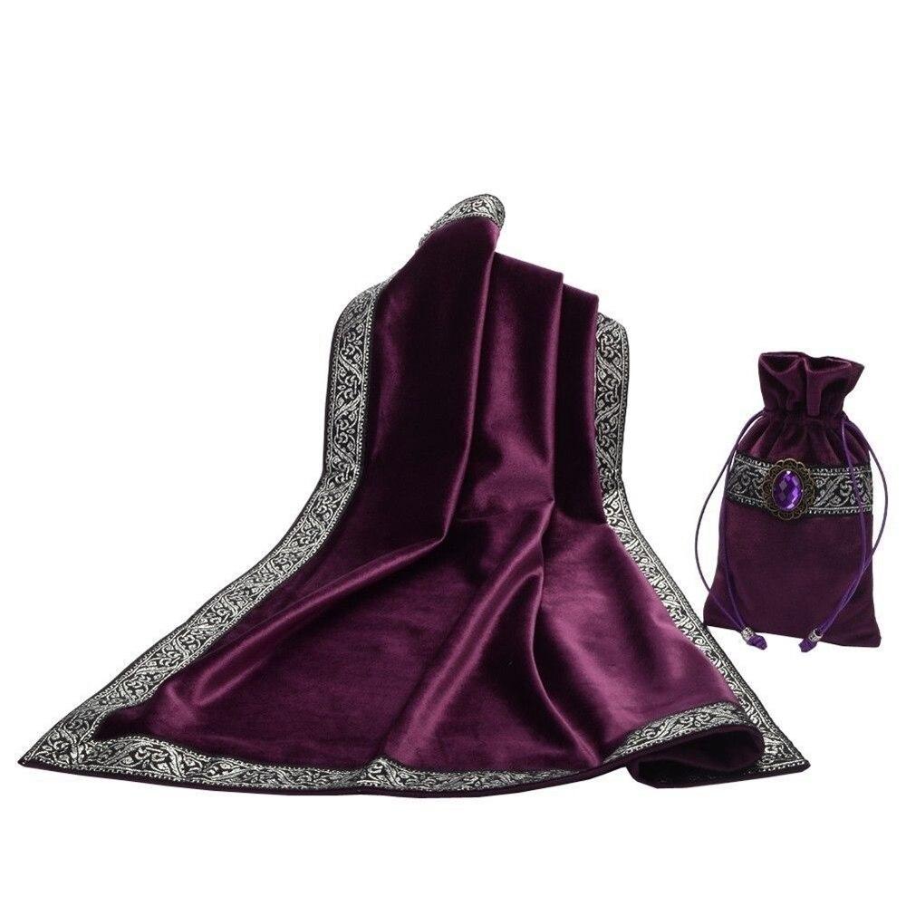 Autel Tarot cartes sac fête nappe jeu de société nappe Divination Wicca velours tapisserie Vintage noir violet bleu