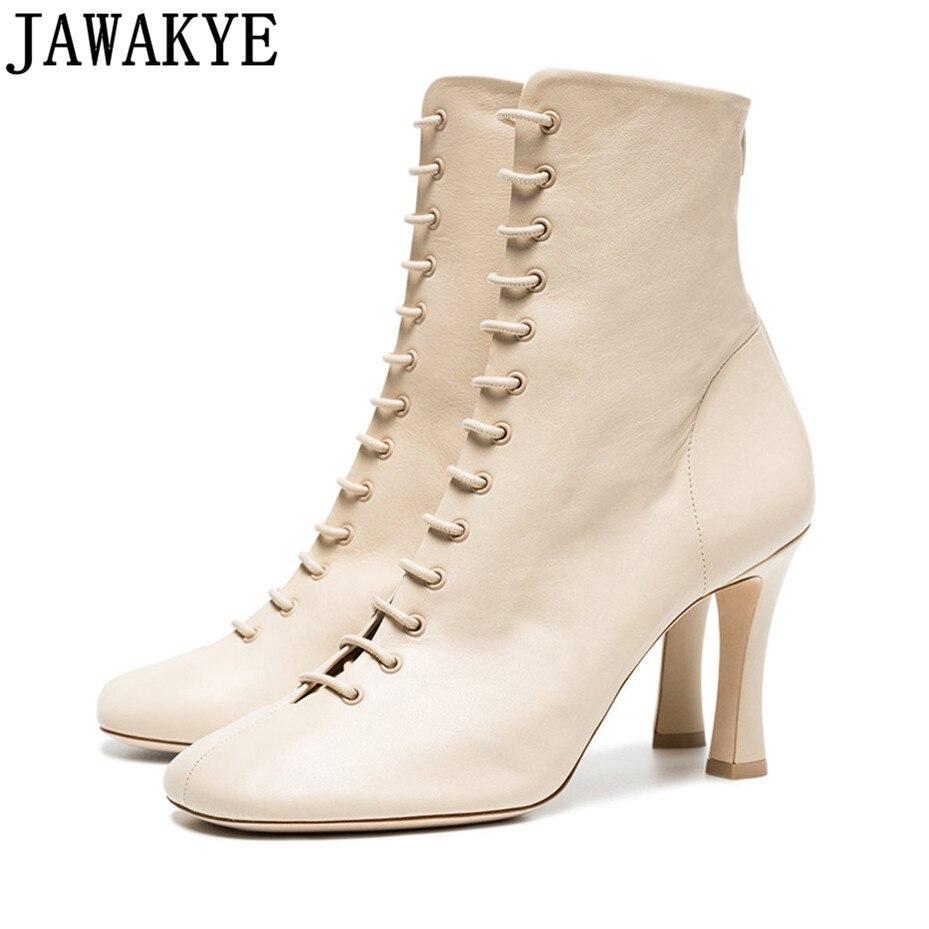 Женские короткие ботинки из натуральной кожи, на высоком каблуке, с закругленным носком, на шнурках, ботильоны для женщин, 2018