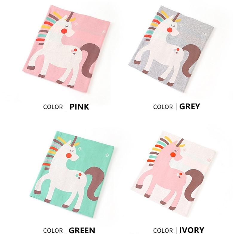 80X100 cm suave algodón tejido lindo unicornio bebé manta niño fino verano noche cubierta niños asiento trasero Manta cubierta de paseo