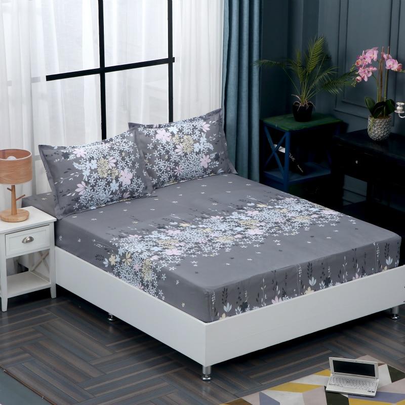 Hyha Simple cubierta de colchón de poliéster para dormitorio Color sólido estampado Floral sábana ajustada Protector de cama almohadilla sábana Couvre lit