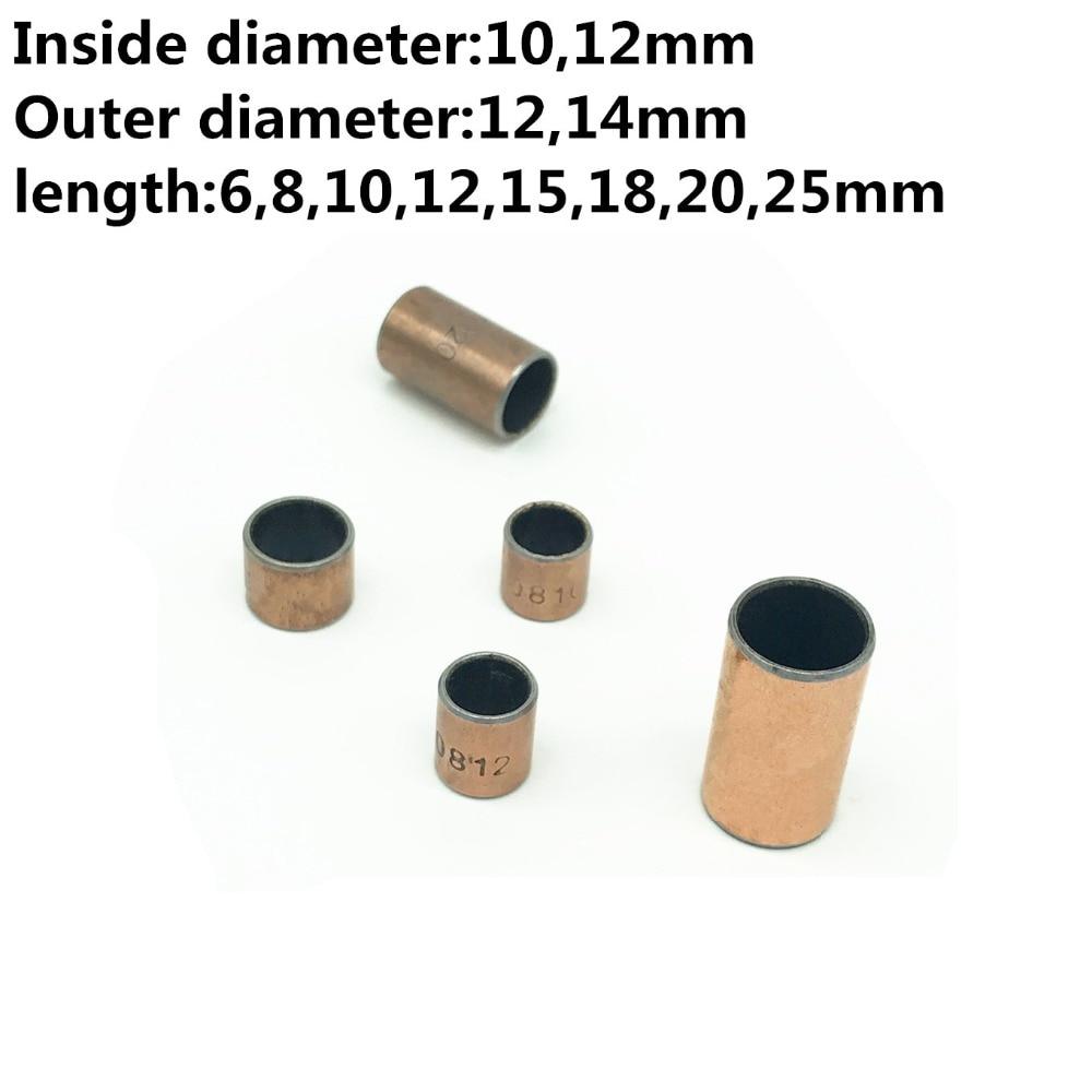 50 Uds. SF-1 el diámetro interior de 10 12 mm funda de casquillo de cojinete autolubricante compuesto SF1 casquillo de cobre sin aceite