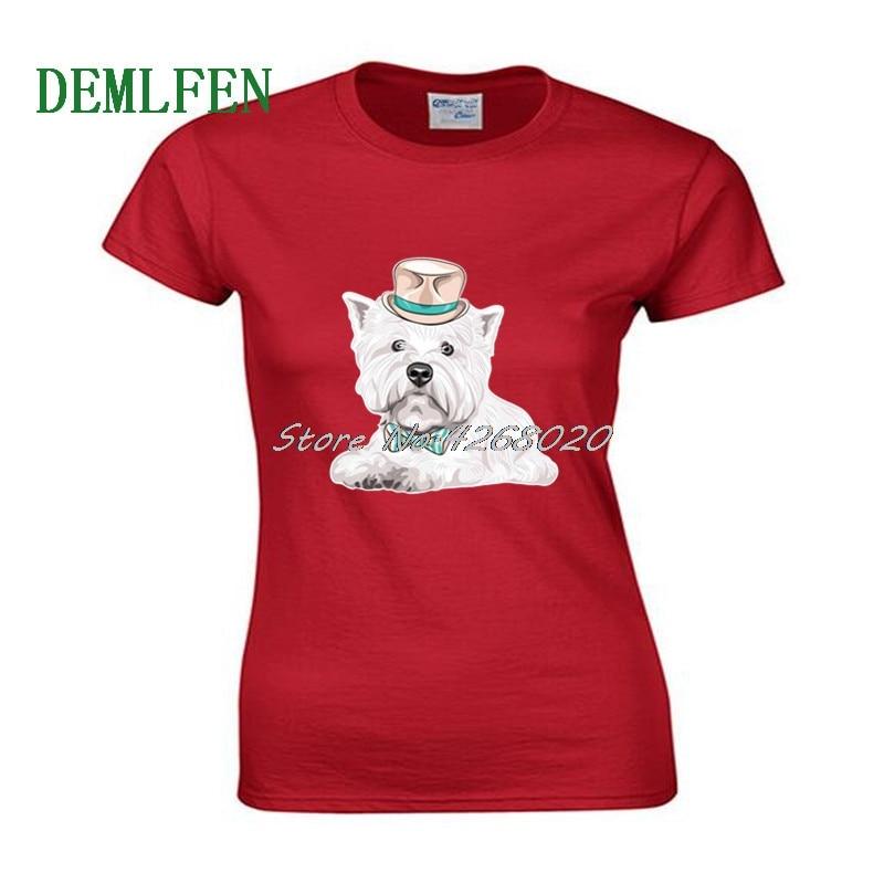 Camiseta Hipster West Highland White Terrier con estampado de perro, Camiseta de algodón de manga corta para mujer, camisetas de Hip Hop para chica de verano, parte de arriba ropa informal