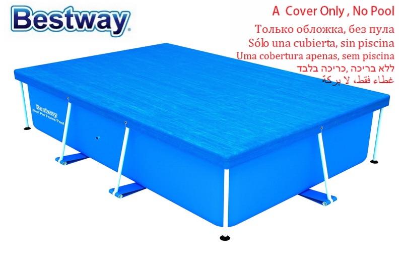 Cubierta de piscina 58105 Bestway 264x174cm con cuerdas de unión para 259x170cm tapa a prueba de polvo para piscina con marco Rectangular