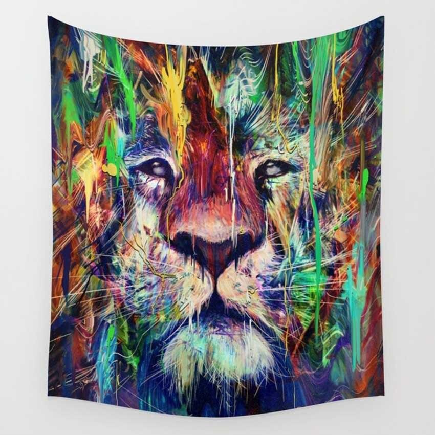 CAMMITEVER Прямая поставка с изображением Льва птицы Глаза Цветочные астронавты гобелены красочные гобелены настенные украшения с принтом