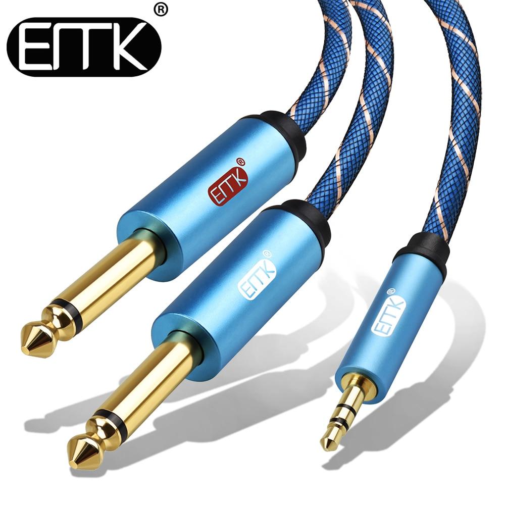 EMK 3,5 мм до 2 6,35 мм аудио кабель стерео Aux 3,5 штекера 6,35 6,3 6,5 моно Y сплиттер аудио шнур 5 м для телефона в миксер