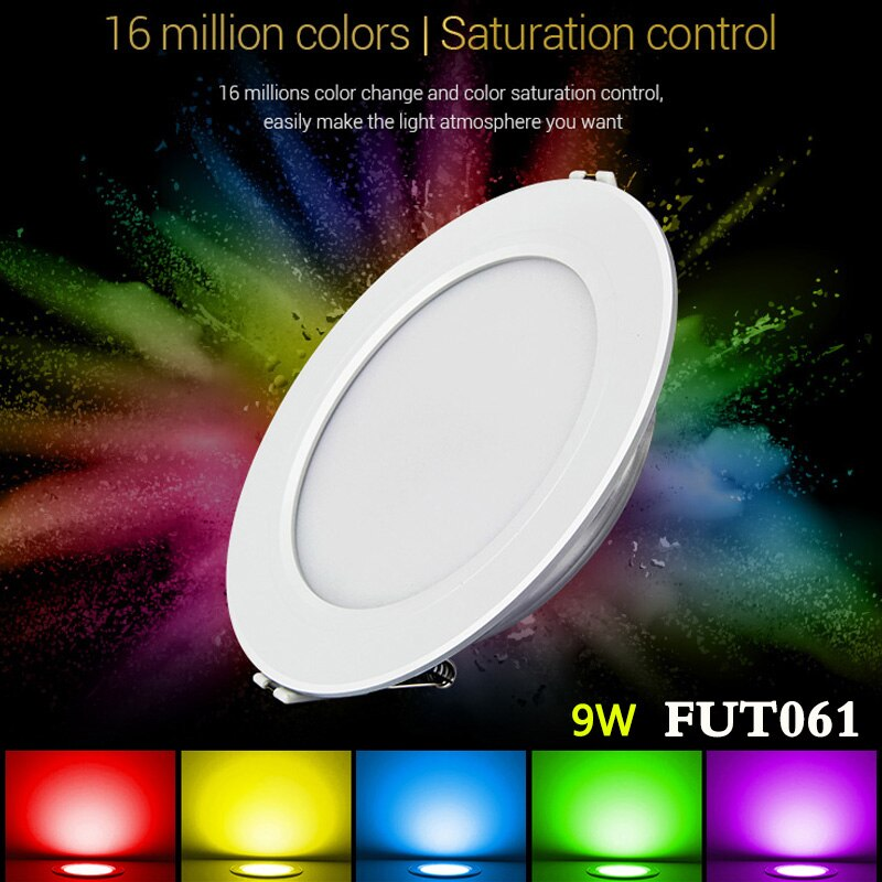 MiBOXER FUT061 9W RGB + AAC empotrada luz led empotrable de techo regulable AC220V 2700K ~ 6500K puede 2,4G RF control Remoto/APP/Amazon control de voz