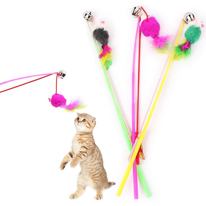 ¡Oferta! 1 unidad de varilla de ratones de imitación con forma de campana para gatos divertidos y populares de colores aleatorios