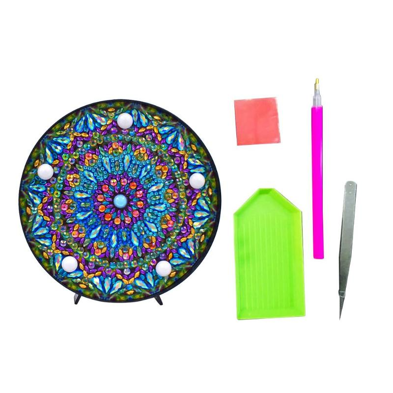 DIY LED diamante pintura Mandala bordado en forma completa especial taladro luz Mesa hogar Decoración diamante pintura lámpara