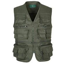 Summer Thin Casual Vest Military Green Multi Pocket Baggy Photographer Outerwear Sleeveless Jacket With Many Pockets Waistcoat