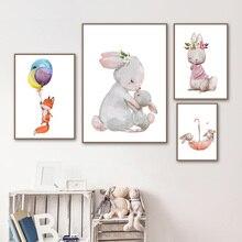 Bebé conejo zorro globo vivero cuadro sobre lienzo para pared dibujos animados carteles nórdicos & impresiones cuadros de pared chica niño habitación Decoración